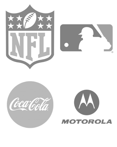 NFL, MLB, Coca-Cola, Motorola logos